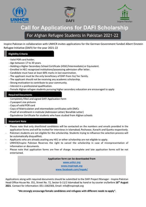 Unhcr Dafi Scholarship For Afghan Refugee Students