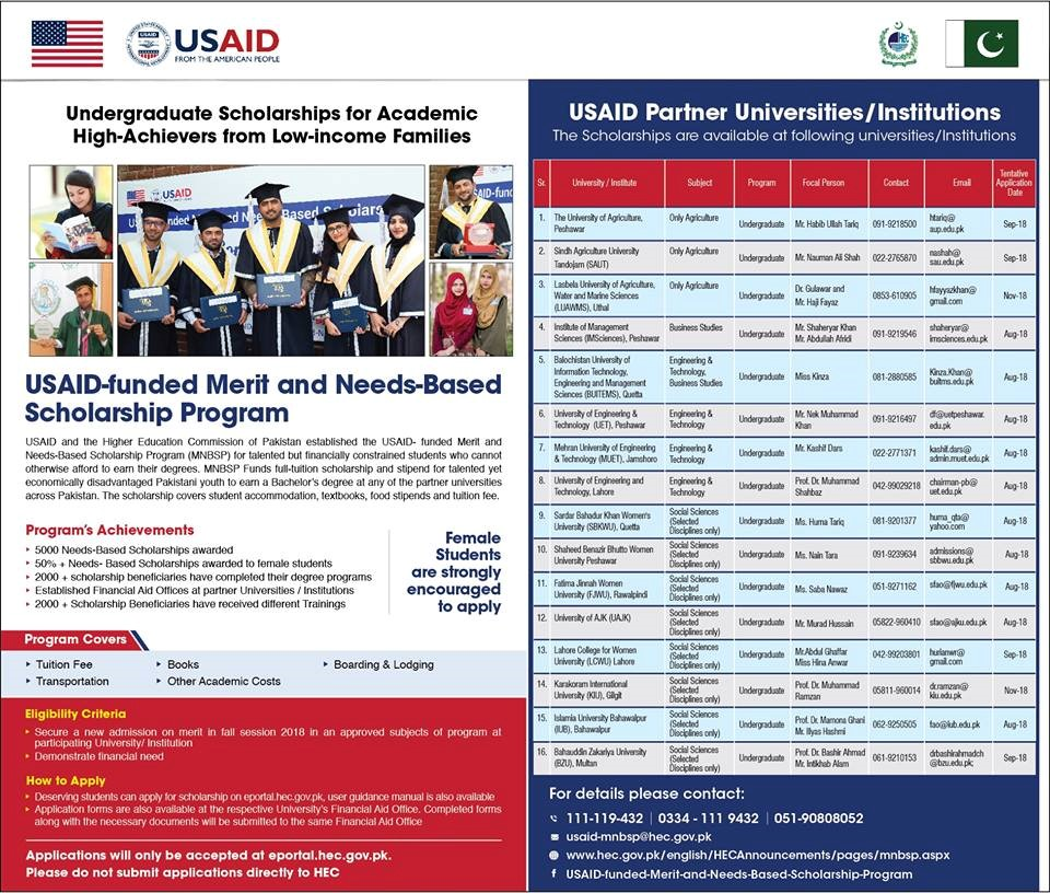 HEC USAID funded Merit and Need Based Scholarships 2019
