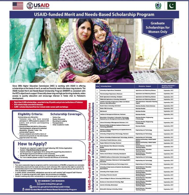 Hec Usaid Merit And Need Based Scholarship